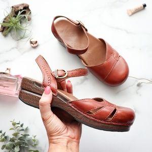 DANSKO Mary Jane clog sandal cognac leather Brown